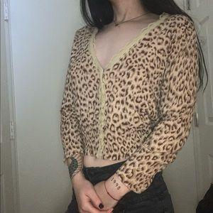 Cropped Cheetah Cardigan